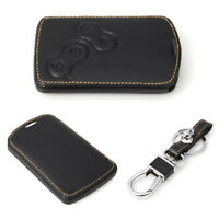 1 PC Car Key Case Cover Holder Protecter w/ Keychain For Renault Black Leather