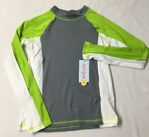 Cat & Jack Boys Size 8/10 Medium Swim Shirt Gray Green Long Sleeve UPF 50+ Sun