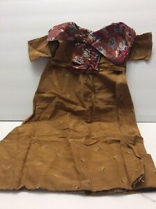 Vintage French German Antique Doll Dress Victorian Bisque Long Formal Homemade