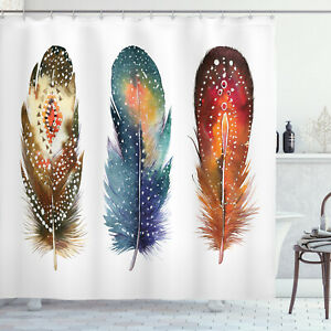 Ceremonial Shower Curtain Feather Tribal Print for Bathroom