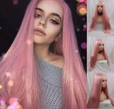 """AU STOCK 24"""" Heat Resistant Lace Front Wig Synthetic Straight Pink Middle Part"""