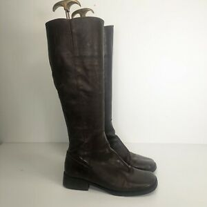 Vintage Square Toe Brown Leather Knee Boots Flat Retro 90s Y2K Uk 3 36