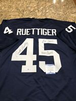 Rudy Ruettiger Signed & Inscribed Custom Jersey Beckett Witnessed COA Notre Dame