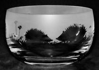 HEDGEHOG *ANIMAL GIFT* 12cm Boxed CRYSTAL GLASS SWEET BOWL with HEDGEHOG FRIEZE