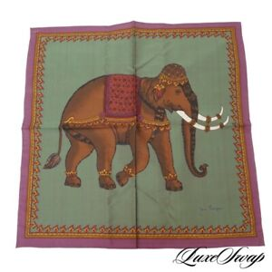 NWOT Jim Thompson Thailand Jade Green Hand Rolled Elephant Silk Pocket Square NR