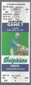 VINTAGE 1987 NFL COLTS @ MIAMI DOLPHINS FULL UNUSED FOOTBALL TICKET - DAN MARINO