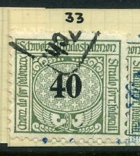 SWITZERLAND;  1913-30s early RAILWAY PARCEL stamp fine used  40c. Type  33