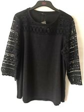 George Womens Navy Top Size 18 Lace Detailed Long Sleeves