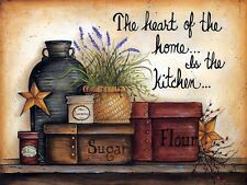 METAL VINTAGE SHABBY-CHIC TIN SIGN THE HEART OF THE HOME IS THE KITCHEN PLAQUE