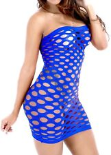 PLUS SIZE Fishnet Mini Dress #21 BLUE One Size fits most Big Tall Sexy LINGERIE