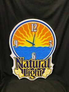 Vintage Natural Light Beer Sign Clock Bar Man Cave Garage Art Metal Rare 1994