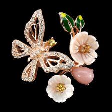 925 Sterling Silber Ring Roségold beschichtet Opal Perlmutter Blumen Einstellbar