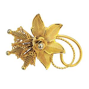 Hobé Goldtone Flower Blossom Pin with Wire Mesh Stamens