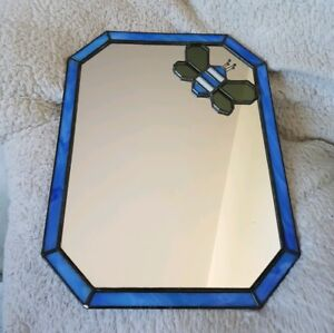 ❀ڿڰۣ❀ CRAFTY GLASS HOUSE Handmade STAINED GLASS WALL MIRROR With BUMBLE BEE