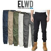 Mens Elwood Work Cuffed Pants Stretch Canvas Tough Tradie Phone Pocket EWD103