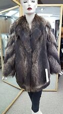 "Natural 30"" Raccoon Fur Jacket with Diagonal Sleeves - Size 16"