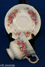 """Paragon English Footed Fine Bone China Teacup & Saucer Duo  FLOWER FESTIVAL """"L"""""""