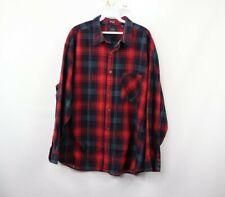 Vintage 90s Streetwear Mens XL Double Pocket Rockabilly Plaid Board Shirt Red