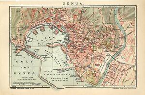 1902 ITALY GENOA GENOVA CITY PLAN Antique Map dated