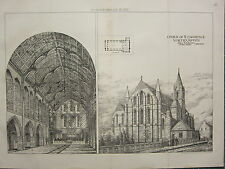 1877 DATED ARCHITECTURAL PRINT ~ CHURCH OF ST LAWRENCE NORTHAMPTON ~ BURDER