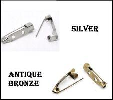 Brooch Iron Back Bar Pins 20mm x 5mm x 5mm Antique Bronze & Silver (3B)