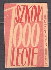 POLAND 1959 Matchbox Label - Cat.Z#136a-pu. 1000 Schools for 1000 years (Polish)