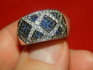 Men's 14K White Gold Over 1.20 Tcw Diamond & Sapphire Wide Band Ring