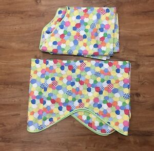 """Set of 2 Nursery Window Valance Muted Primary Colors Striped Back 126""""W 22""""L"""