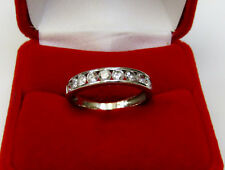 Solid 18K White Gold Real Round Diamond Channel Set Wedding Band Ring Sz 7.75