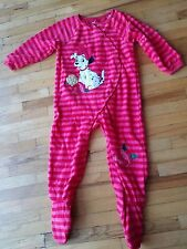 Disney Store 101 Dalmatians Baby Girl's Footed Sleepwear Red Pink stripe size 2T