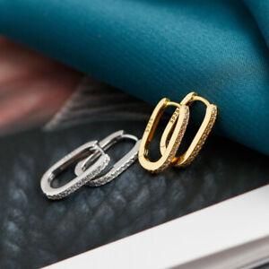 Damen Creolen Abgerundetes Rechteck Zirkonia echt Silber 925 Kreolen Ohrringe