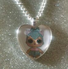 Silver Plated Heart Pendant Necklace LOL Doll Surprise Kitty Queen