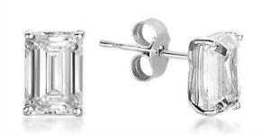 18Carat White Gold Emerald Cut Diamond Studs Earrings 1.00 Carats GIA