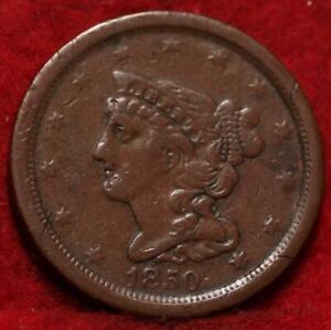 1850 Philadelphia Mint Copper Braided Hair Half Cent