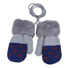 Winter Warm Toddler Baby Boy Girl Kids Thick Fur Gloves Mittens with Neck String