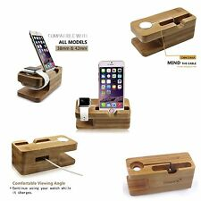 Apple Watch Stand Bamboo Wood iPhone 7 iWatch Charging Dock Station Compact