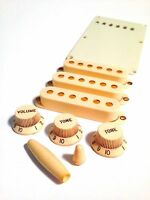 Aged Parts Set Ivory Knobs Single Coil Pickup Cover Rubbermarks Tip fits Strat®