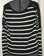 *ONE STEP UP KNIT TOP BLOUSE SIZE L JUNIOR BLACK/WHITE STRIPE LACE NWT