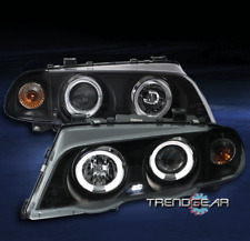 1999-2001 BMW E46 3-SERIES 4DR HALO LED PROJECTOR HEADLIGHTS BLACK/AMBER CORNER
