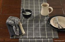 """Table Napkins (2) Black Cotton Plaid Stonebridge 18"""" Country Home Decor Accents"""