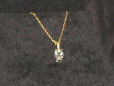 "10K yellow gold aquamarine & Diamond necklace  18"" delicate"