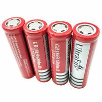 4X 18650 Batteries 6800mAh 3.7V Rechargeable Li-ion Flat Top Battery-Flashlight
