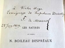 BOILEAU Les Satires Bibliophiles 1868 Exemplaire n° offert à Victor Hugo envoi