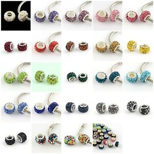 10 pc Grade A Rhinestone 24 Sparkly Colors Beads for European Jewelry USA