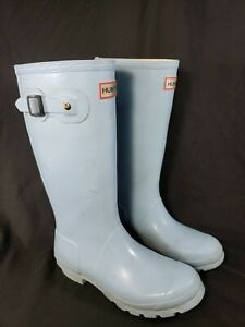 Adorable Girls Young Hunter Boots Size 6 Sky Blue Light
