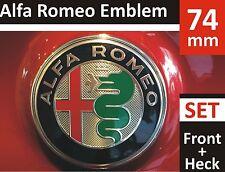 2x74mm Alfa Romeo NEW STYLE GIULIA 2016 Emblem Badge 147 156 159 Mito Front+Back