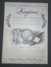 Original Print Ad 1956 LONGINES Watch Christmas 90th Anniversary Vintage  Art