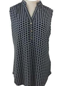 Perseption Concept blouse top size L black white pattern sleeveless tunic V neck