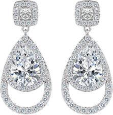 Vintage Wedding Bridal Dangle Earrings Womens Cubic Zirconia Hollow Out Teardrop