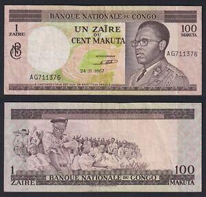 Congo 1 zaire on 100 makuta 1967 BB/VF  A-10